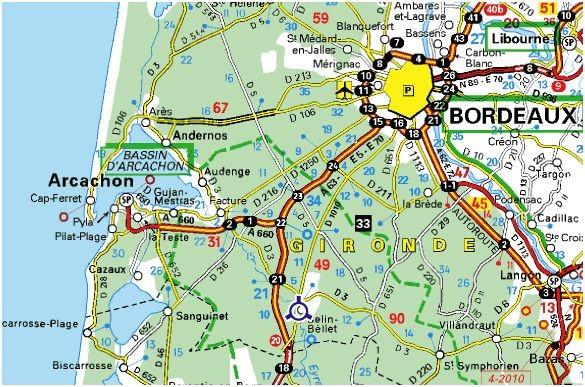 Carte Bordeaux Arcachon.Belin Beliet